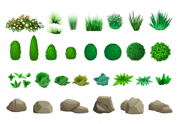 Set of trees bushes and stones Premium Vector