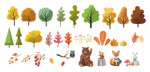 Set of trees, flowers, and animals, paper art style Premium Vector