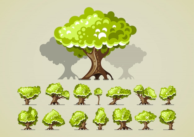 Set of trees for video games Premium Vector