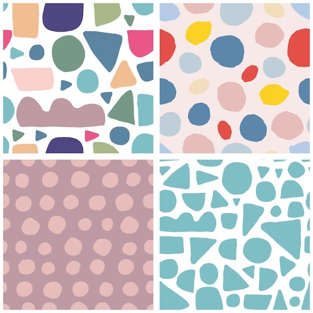Set of trendy abstract blotch shape seamless pattern Premium Vector