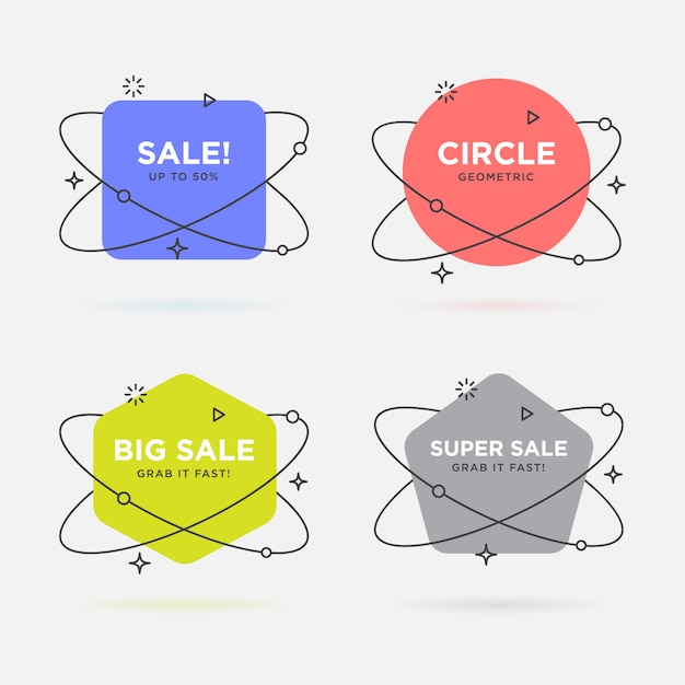 Set of trendy flat geometric vector banners Premium Vector
