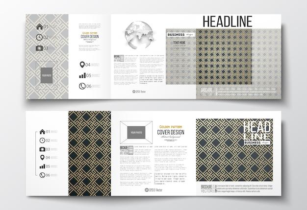 Set of tri-fold brochures, square design templates. islamic gold pattern Premium Vector