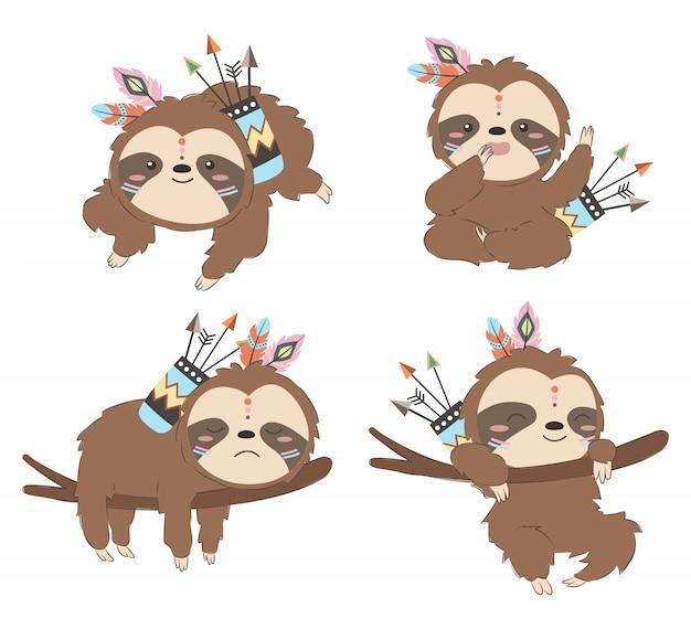 Set of tribal baby sloths illustration Premium Vector