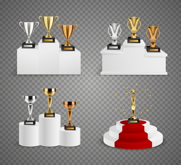 Set of trophies including cups and figurine on pedestals Free Vector