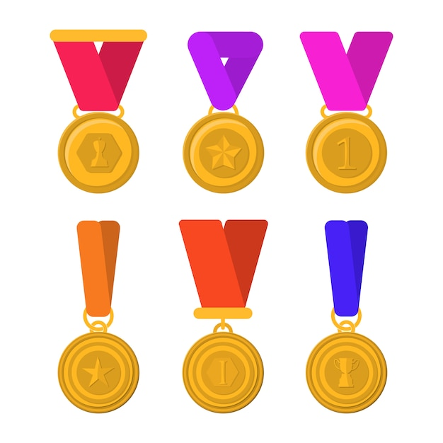 Set of trophies, medals, icons and ribbons for winners in competitions. golden cups for winners. flat pictures set of different gold trophy.  flat graphic design cartoon illustration. Premium Vector