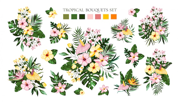 Set of tropical exotic flowers bouquets with frangipani hibiscus calla green monstera palm leaves. floral branch arrangements wedding invitation save the date Free Vector