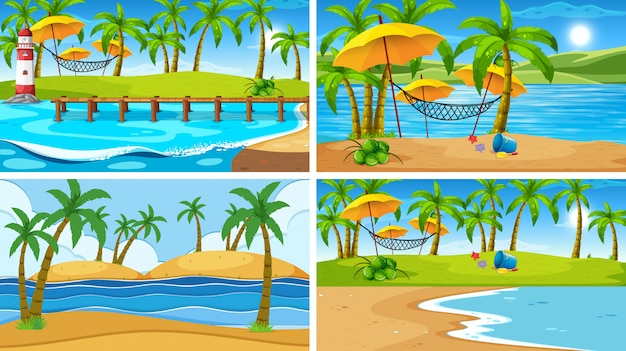 Set of tropical ocean nature scene or background with beaches Free Vector