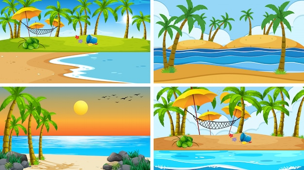 Set of tropical ocean nature scene or backgrounds with beaches Free Vector