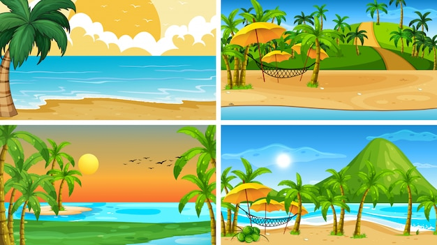 Set of tropical ocean nature scenes or background with beaches Free Vector
