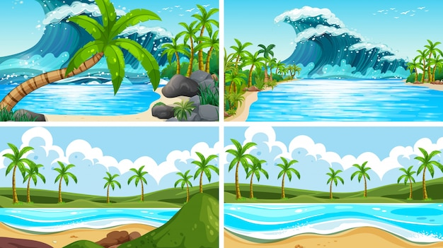 Set of tropical ocean nature scenes with beaches Vector ...