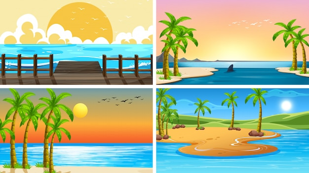 Set of tropical ocean nature scenes with beaches Free Vector