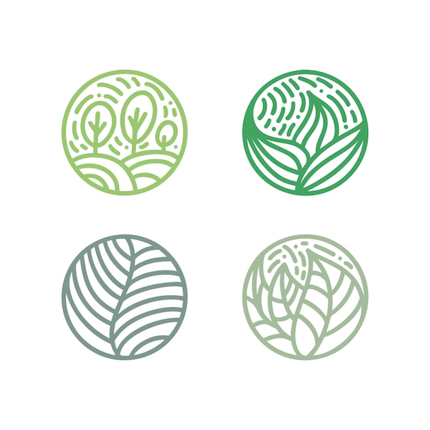 Set of tropical plant green leaves logo. Premium Vector