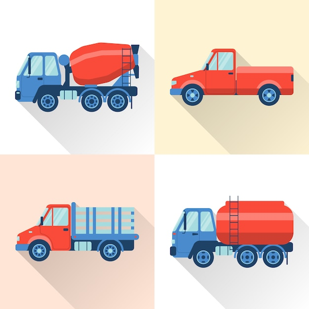 Set of truck in flat style Premium Vector