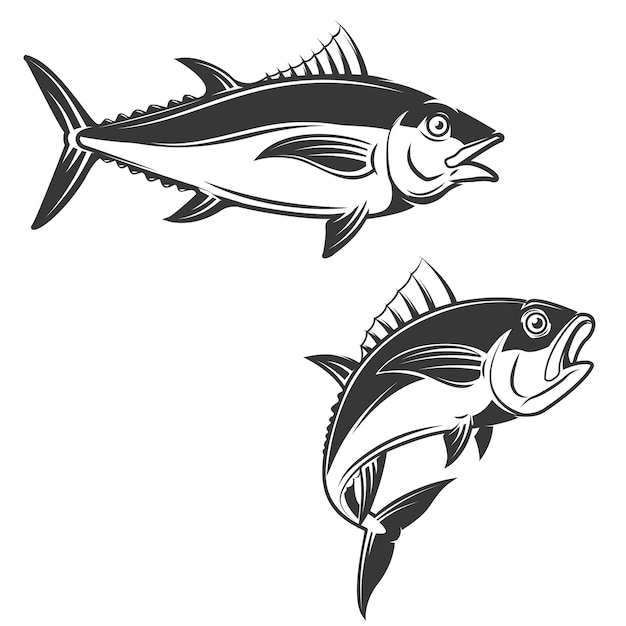 Set of tuna hand draw Premium Vector