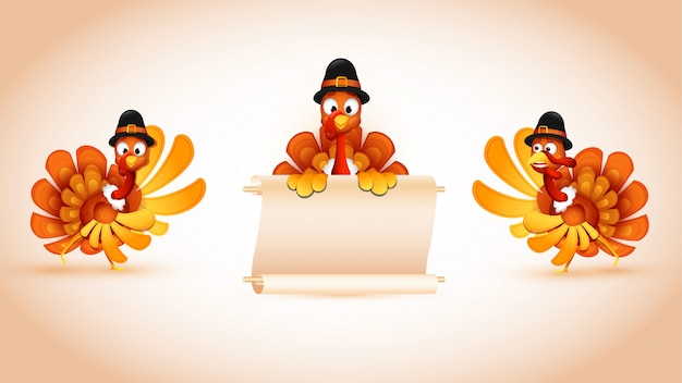 Set of turkey bird wearing pilgrim hat with blank scroll paper given for your message. Premium Vector