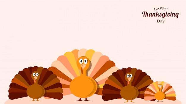 Set of turkeys thanksgiving Premium Vector