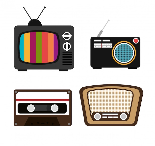 Set di tv, cassette, radio, altoparlanti Vettore gratuito