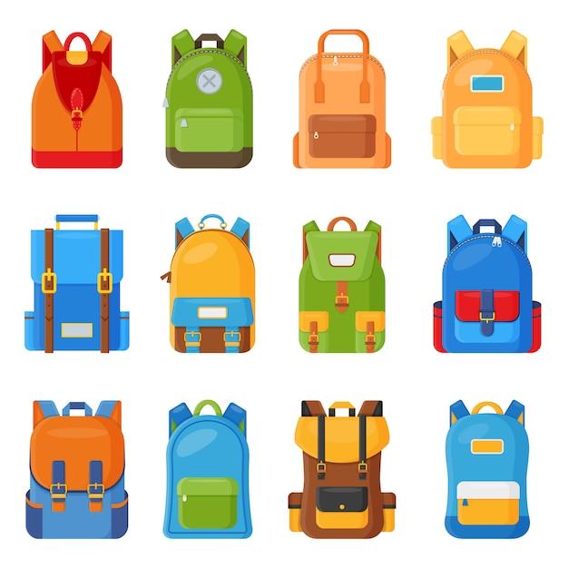Set of twelve colored school backpacks Premium Vector