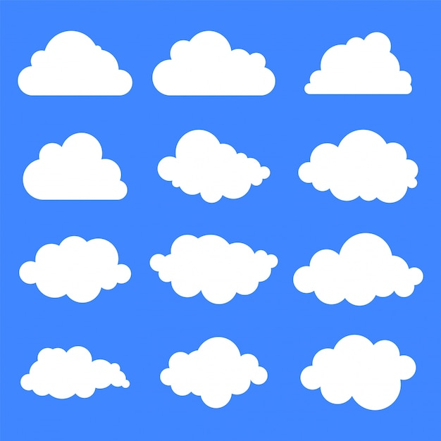 Set of twelve different clouds on blue background. Free Vector
