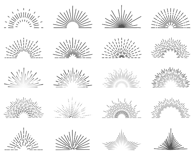 Set of twenty line light rays. sun bursts for vintage style logos. Premium Vector