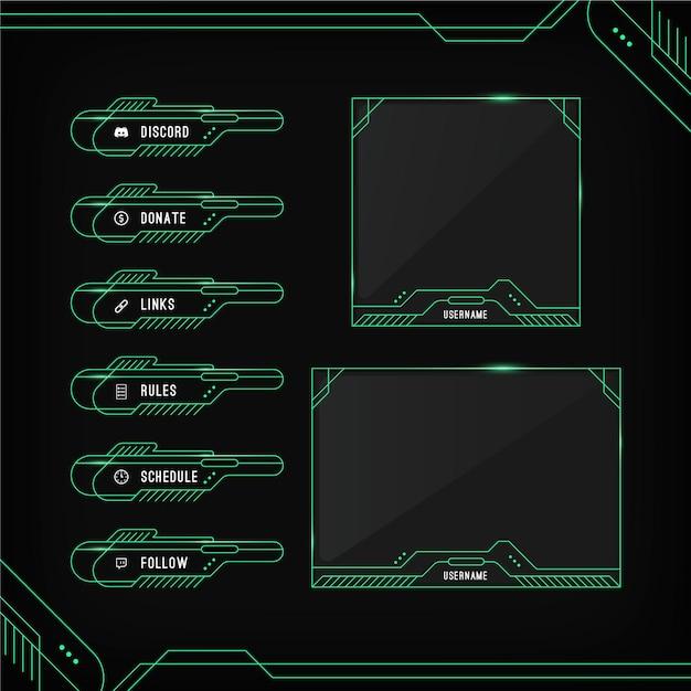 Set di pannelli di flusso twitch Vettore gratuito