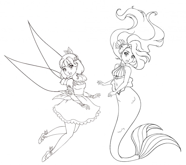 Set of two anime style characters. mermaid and fairy. hand drawn  illustration on a white background for coloring book, tattoo, card, t-shirt template etc. Premium Vector
