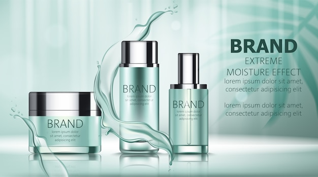 Set of two bottles and a box with cosmetics with place for text surrounded by water lines Free Vector