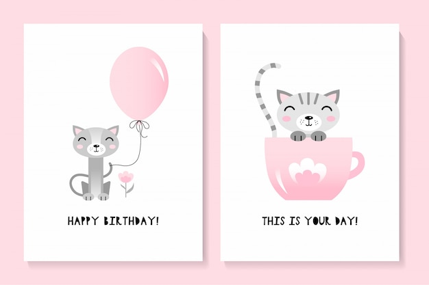 A set of two cards with a cute cat. happy birthday Premium Vector