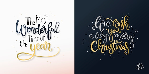 Set of two christmas cards with freehand greetings. Premium Vector