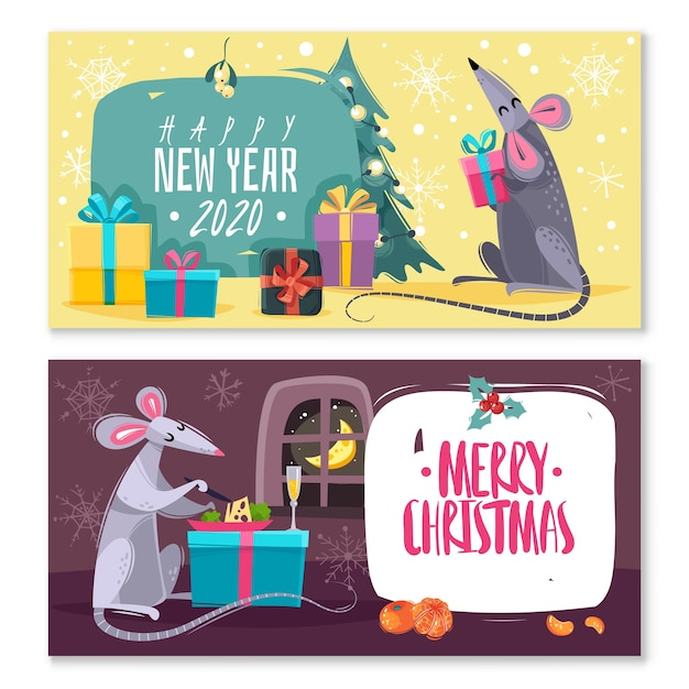 Set of two horizontal banners with cartoon characters rats mice Premium Vector