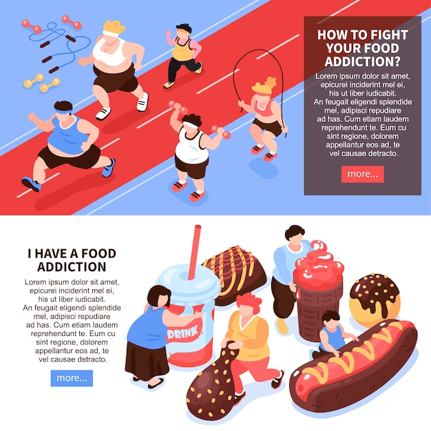 Set of two horizontal isometric overeating gluttony composition with images of people doing sports eating food  illustration Free Vector