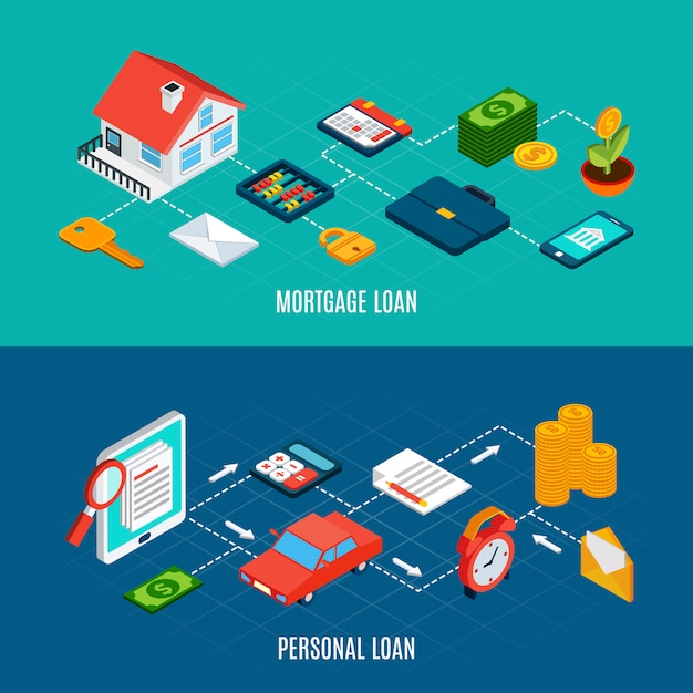 Set of two horizontal loans isometric banners with of private property documents and money coins Free Vector