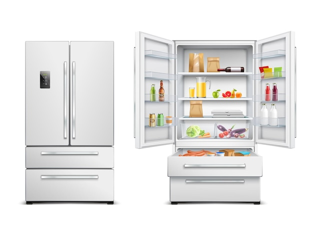 Set of two isolated refrigerator fridge realistic images with two views of opened and closed cabinet Free Vector