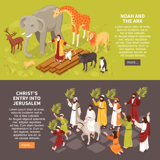 Set of two isometric bible narratives horizontal banners with text description characters of people and animals Free Vector