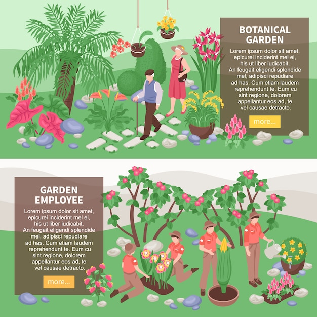 Set of two isometric botanical garden horizontal banners with text description boxes and s of gardeners Free Vector