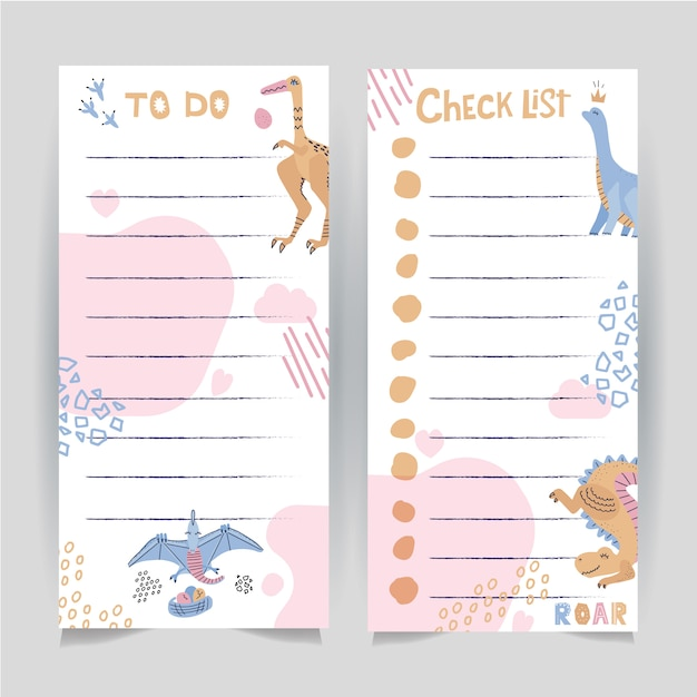 Set of two printable template of to do and check list page decorated with hand drawn dinosaurus. Premium Vector