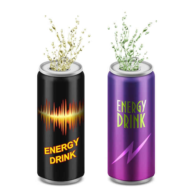 Set of two realistic aluminum cans with open lids and splashes isolated on background Free Vector