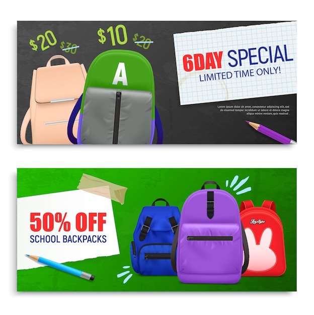 Set of two realistic school backpack horizontal banners template. back to school Free Vector