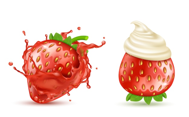 Set of two red ripe strawberries with juicy splash and with whipped cream or icing, isolated Free Vector