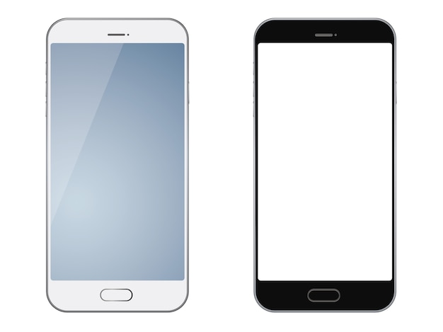 Set of two smartphones isolated Premium Vector
