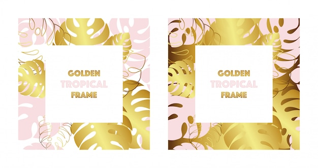 Set of two tropical golden frames. gold and pink tropical monsteras leaves. Premium Vector