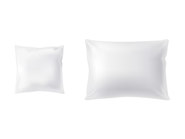 Set of two white pillows, square and rectangular, soft and clean Free Vector