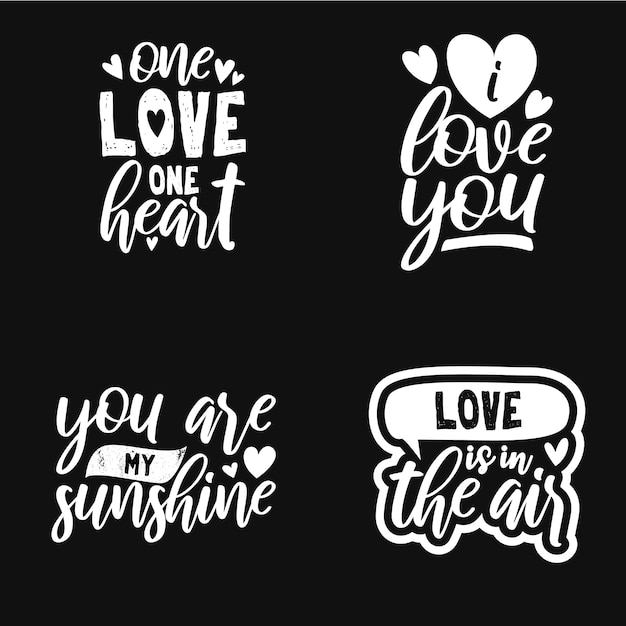 Set typography quotes about love Premium Vector