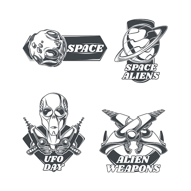 Set di emblemi di ufo Vettore gratuito