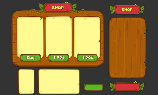 Set of ui elements for 2d games and apps, jungle game ui part 3 Premium Vector