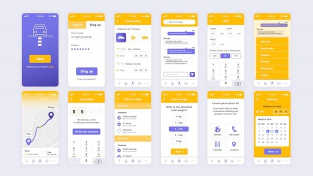 Set of ui, ux, gui screens delivery app flat template Premium Vector