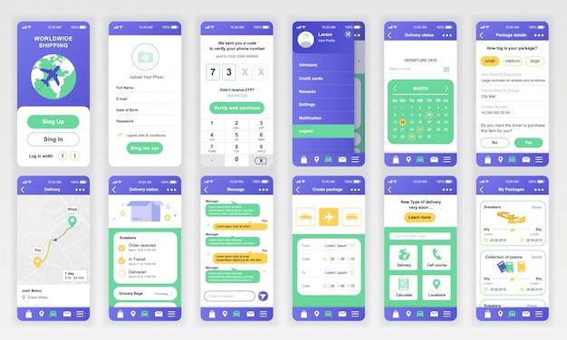 Set of ui, ux, gui screens delivery app flat Premium Vector