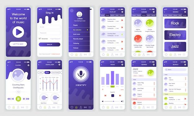 Set of ui, ux, gui screens music app flat Premium Vector