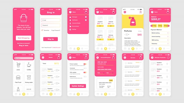 Set of ui, ux, gui screens shopping app flat template Premium Vector