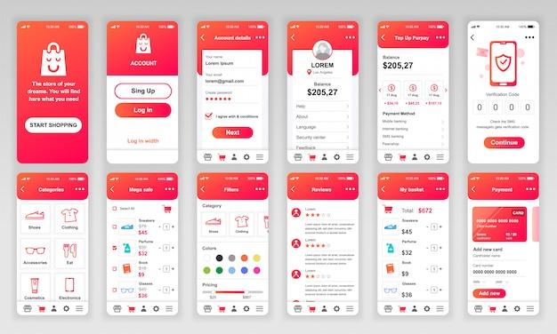 Set of ui, ux, gui screens shopping app flat Premium Vector